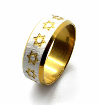 Star of David Ring Jewish Messianic silver and gold design ISRAEL size 9