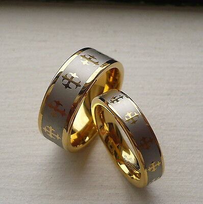 Tungsten Carbide His & Her Wedding Band Ring Set With Crosses 8&5Mm Sz 5-15