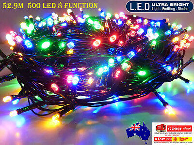 500LED 52.9M Multi-Coloured Chasing Xmas Party Fairy Lights 8 Functions