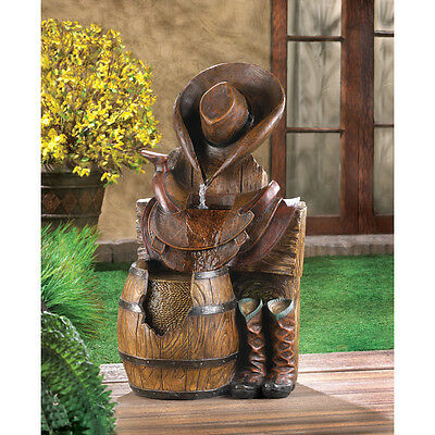 Wild West Cowboy Water Fountain with Pump Garden Yard Deck Patio CLEARANCE
