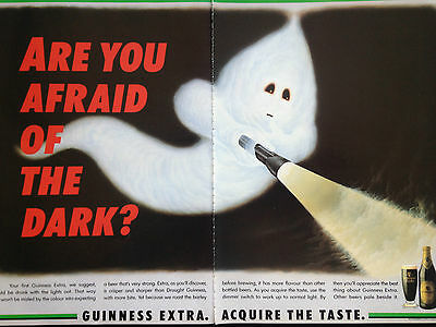 """GUINNESS EXTRA GHOST # VINTAGE ORIGINAL COLOUR ADVERT # 11"""" x 16"""""""