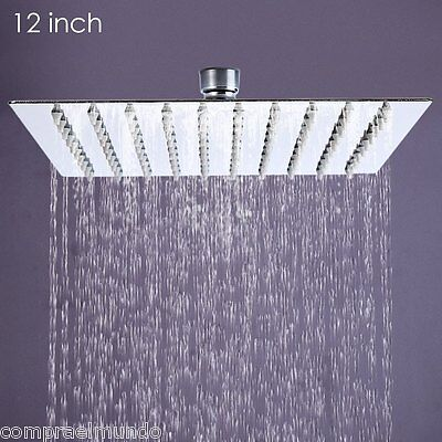 Ultra-thin Square Stainless Steel Rainfall Shower Head Top Shower 12 inch