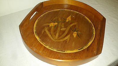 """Vtg Wood Inlaid Marquetry Tray - Oval - Floral - Brass Appx. 13 1/2""""x 12"""""""