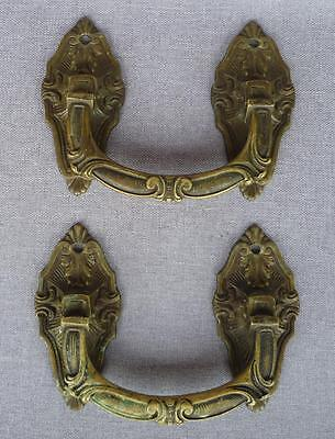 Antique pair of door handles 19th century France made of bronze signed