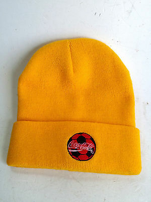 Coca Cola Hat Winter Beanie Hat Yellow Embroidered Logo Advertising Promo Cyprus