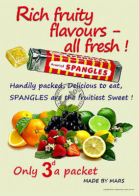 Vintage Poster Spangles Fruity Sweets RETRO ADVERTISING ART Print 1960s 1970s AD