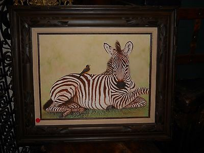 Original Wildlife Animal Acrylic Painting  Zebra  Gorgeous - Folk Art Paintings.