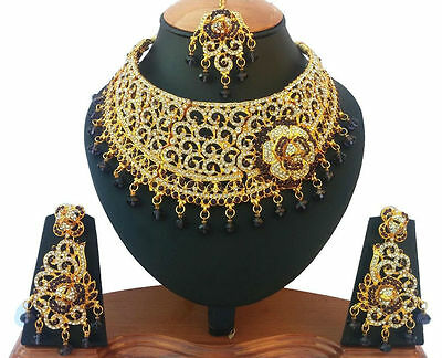 Indian Bridal & Party Wear Jewellery Set Purple Stones Gold Plated New - Aq/68
