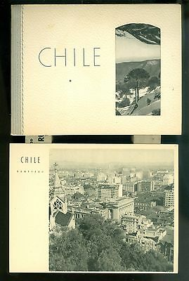 1930s Chile View Cards In Folder Santiago Ice Fields Landscape