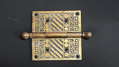 Antique Vtg Eastlake Victorian Door Hinge 4 x 4 w Removable Hinge Pin Cast Iron