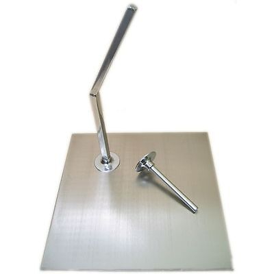 "MA-008 Square Brushed Metal Base for Mannequin with 0.5"" Calf & Sole Rods"