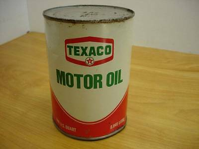NOS Vintage Texaco Motor Oil Metal Can One Quart SAE 10 Original Full #1