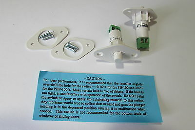 """GRI PBF-100 White 3/4"""" Plunger Tamper Push Button Switch Terminal Contact 2 Lot"""