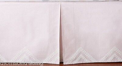 Pottery Barn Kids Diamond Embroidered Crib Skirt ~ Pink