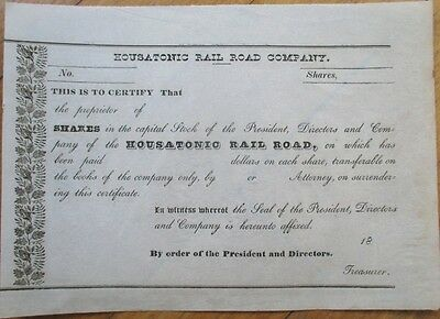 1850s Railroad Stock Certificate: 'Housatonic Rail Road Company'