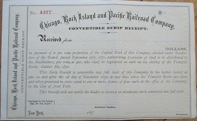 1870 Stock Scrip Certificate: 'Chicago, Rock Island & Pacific Railroad Company'