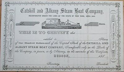 1860s Shipping Stock Certificate: 'Catskill & Albany Steam Boat Co.' - New York