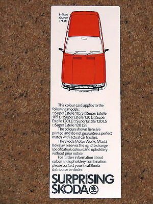 1980 SKODA COLOURS Guide Brochure - S110R Coupe, Super Estelle - Mint Condition