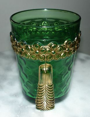 EAPG U.S. Glass Vermont Emerald Green Tumbler with Gold Decoration