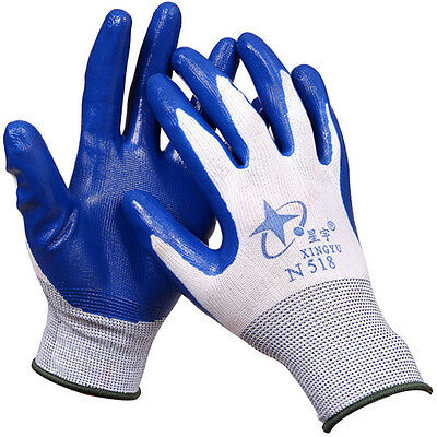 12 PAIRS Abrasion Resistance Protection against Oils Hardwearing Nitrile Gloves
