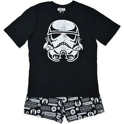 New Star Wars Mens Black Pj Pyjamas Top + Shorts Pants Size S,m,l,xl,xxl