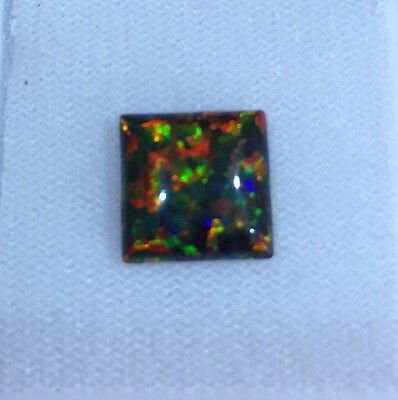 Lab Created Synthetic Black Opal - Square Cabochon AAA Loose stone (4x4-10x10mm)