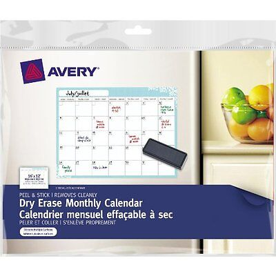 Avery Dry Erase Monthly Calendar Removable Peel and Stick 16 X 12-Inch Blue 1...