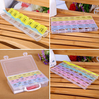 Optional Pill Box 7 Day Weekly Box Medicine Tablet Case Container Storage Holder