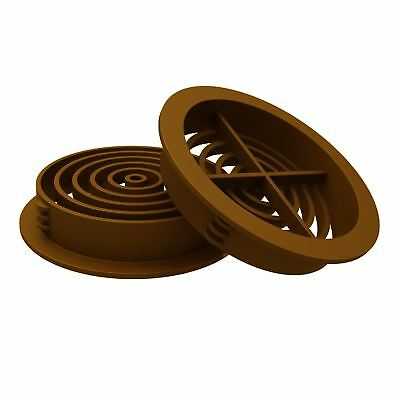 10 x 70mm Golden Oak / Tan Plastic Round Soffit Air Vents / Push in Roof Disc