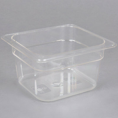 "(6-Pack) 1/6 Size 4"" Deep Clear Plastic Restaurant Salad Bar Buffet Food Pans"