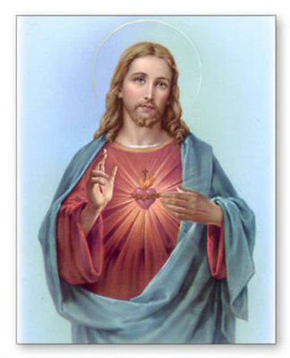 Large Sacred Heart Of Jesus Canvas - Pictures Candles Statues Crucifixes Listed