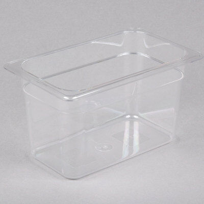 """(6-Pack) 1/4 Size Clear Plastic Polycarbonate NSF Listed Food Pan - 6"""" Deep"""