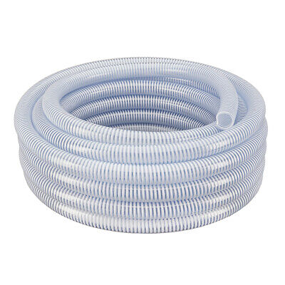 """11/2"""" x 50' - Flexible PVC Water Suction & Discharge Hose - Clear w/White Helix"""