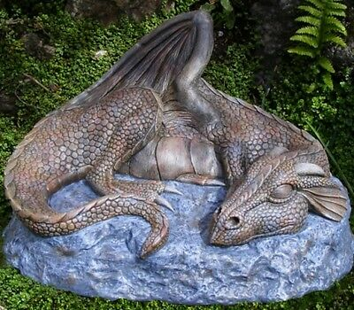 SLEEPING DRAGON  Garden Stone Ornament Sculpture Statue Mythical Gift