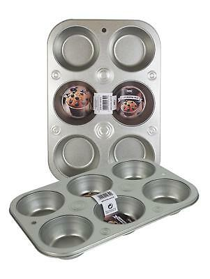 6 CUP LARGE MUFFIN PAN Baking TRAY TIN CUPCAKE FAIRY CAKE YORKSHIRE PUDDING TRAY