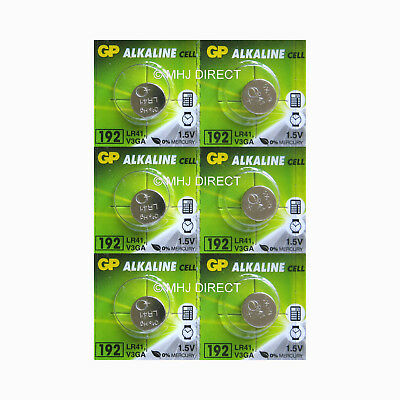 6 x GP LR41 192 AG3 392 SR41 1.5v Alkaline Batteries Use By Expiry Date 2020