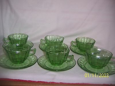 Depression Hazel Atlas Green Cups & Saucers (6) Available