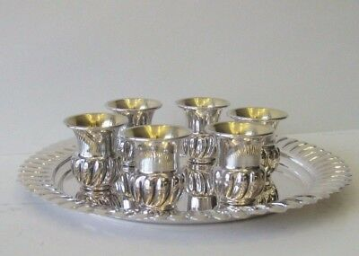 925 Sterling Silver Gold Plated Fluted 6 Cups Liquor Set & Tray Fwc Frw