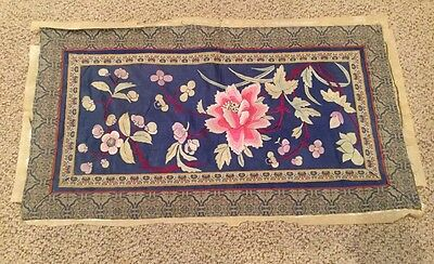 Vintage Oriental Silk Embroidered Panel Tapestry Flowers