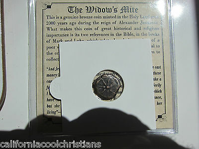 "1-PREMIUM ANCIENT ROMAN COIN ""WIDOW'S MITE"" RARE  PRUTAH Christian  with COA"