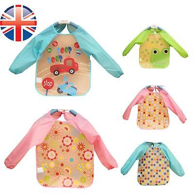 *UK Seller* Baby Toddler Kids Long Sleeve Waterproof Feeding Art Apron Bib Smock
