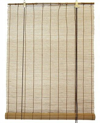 """2.5' x 6' 30"""" x 72"""" Brown Bamboo Round Matchstick Window Roll Up Blind Shade"""