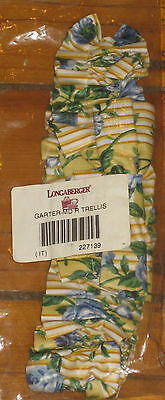 Longaberger Rose Trellis Medium Md Bow Fabric Basket Garter Nib Usa~Floral