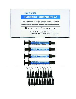 Light Cure MICRO HYBRID FLOWABLE Composite Dental Supply 4 Syringe Kit Shade A1