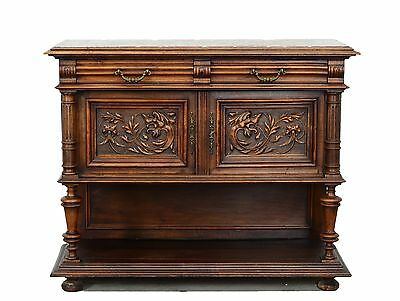 2201035 : Antique French Renaissance Marble Top Console Sideboard