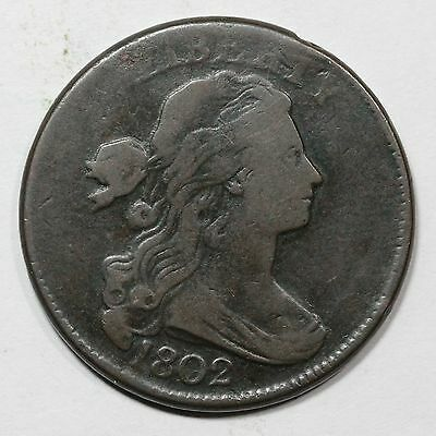 1802 S-230 Draped Bust Large Cent Coin 1c