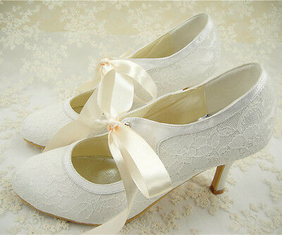 Vintage Ivory Lace Bridal Shoes Mary Janes Lace Up Wedding Shoes