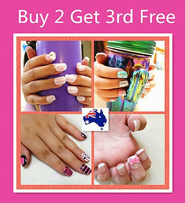 20 PC Girls Cute False Fake Nail Set For Party With Press On Glue -- 50 Styles