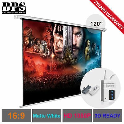 """120"""" Electric Motorised Projector Screen Home Theatre HD TV Projection 3D 16:9"""