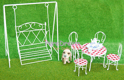 Dollhouse Miniature 1:12 Scale Iron Metal Porch Swing Table & Chair Set White